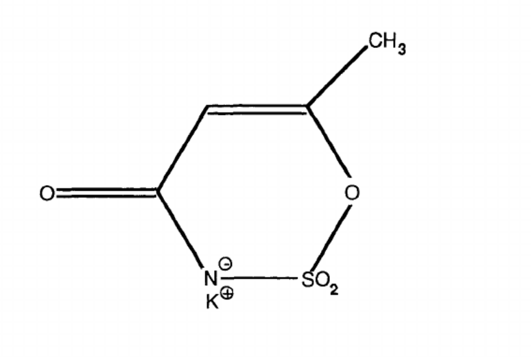 The molecular structure of Acesulfame Potassium.